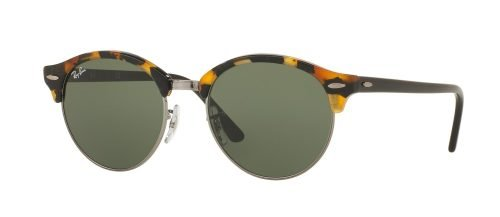 Ray-Ban CLUBROUND RB4246 Top Wrinkled White on White/Green mirror green (988/2X)