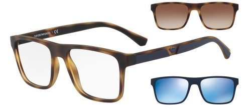 Emporio Armani EA4115 Dark Havana/uva Uvb Transparent Protection Lenses + Havana/brown Shaded Clip-on + Blue/blue Clip-on (50891W)