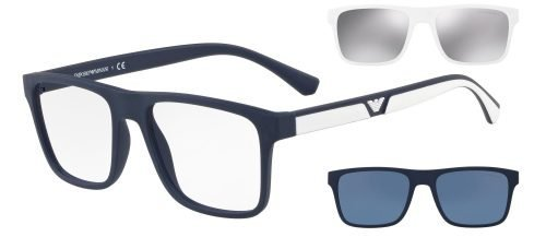 Emporio Armani EA4115 Dark Blue/uva Uvb Transparent Protection Lenses + White/silver Clip-on + Blue/blue Clip-on (56691W)