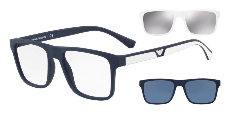 Emporio Armani EA4115 Dark Blue/uva Uvb Transparent Protection Lenses + White/silver Clip-on + Blue/blue Clip-on (56691W)