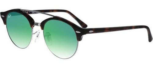 Ray-Ban CLUBROUND RB4346 Shiny Red Havana/green Shaded (6251/9J)
