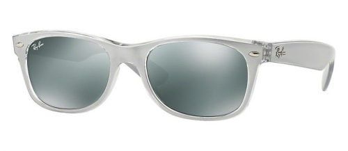 Ray-Ban NEW WAYFARER RB2132 Top Brushed Silver On Transp/Green Mirror Silver (614440)