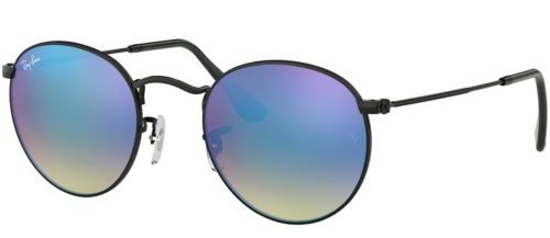 Ray-Ban ROUND METAL RB3447 Shiny Black/blue Shaded (002/4O)