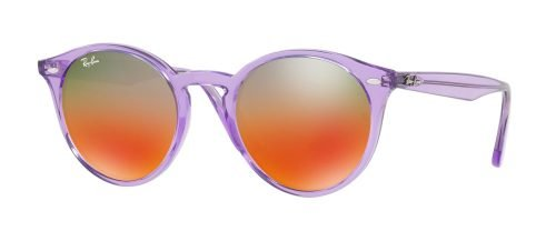 Ray-Ban ROUND RB2180 Transparent Lilac/Brown Red Silver (6280/A8)